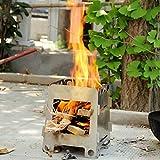 mcdslrgo portátil Acero inoxidable plegable ligero madera estufa estufa de alcohol de bolsillo para cocina exterior Picnic Barbacoa Camping