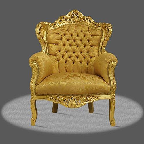 LouisXV Barock Sessel Armlehner Vintage Antik Stil gold Rokoko Blatt gold gold Blumen Ornament antik...