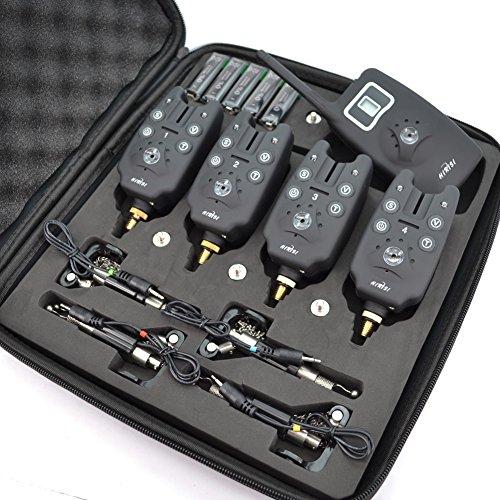 hirisi Tackle® Kabelloser Bissanzeiger fürs Angeln, Set mit 4beleuchteten Aufhängern mit Reißverschlusstasche, fürs Karpfenangeln