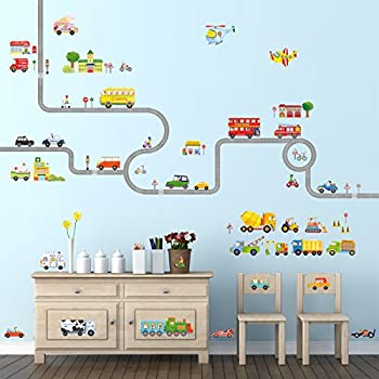 Decowall DA 1404P1405 The Road And Transports Kids Wall Stickers Wall  Decals Peel And Stick Removable Wall Stickers For Kids Nursery Bedroom  Living Room Part 61