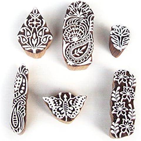 Tallado a mano Mariposa y Floral Diseños Madera Imprenta Sellos (Set de 6)