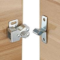 Ccucky - Cierres para puerta, juego de 8 unidades, doble rodillo, sujeción fuerte, para puertas de armario, en latón y aleación de zinc, plateado