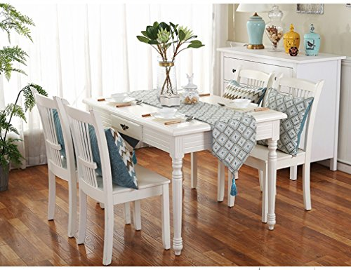 QiangZi Table Runner Grille Chinois Moderne Simple Pratique Durable Tables Tissu V-forme Placemat Birthday Party Bleu, 32 * 200 CM ( Couleur : Grid , taille : 32*200CM )