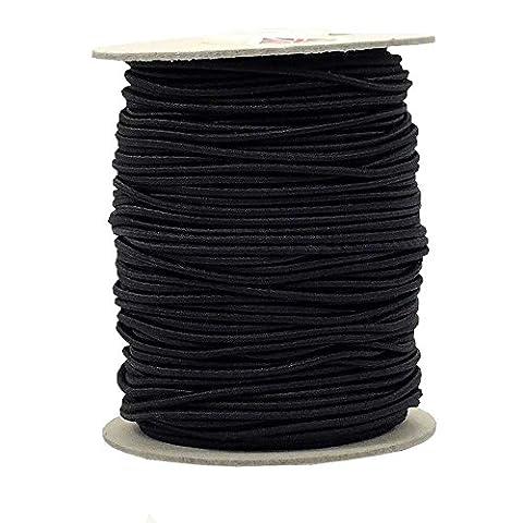 3mm ronde Chapeau élastique Noir–10metres