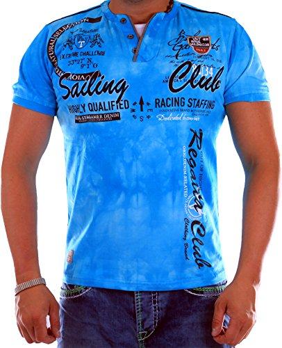 Verwaschenes Herren T-Shirt Sailing Club Slim Fit (Bis 5XL) 2879 (4XL-Slim, Türkis 2879)