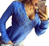 Sweater Damen Pullover Herbst Winter Aushöhlen V-Ausschnitt Langarm Elastisch Jungen Chic Casual Pulli Wollpullover Bequeme Strickpullover Young Fashion Moderner Stil