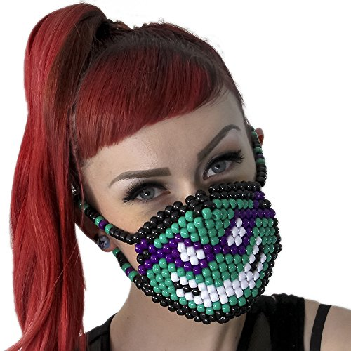 Donatello Teenage Mutant Ninja Turtles Surgical Kandi Mask TMNT by Kandi Gear, rave mask, halloween mask, beaded mask, bead mask for music fesivals and parties