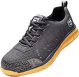 Zapatos de Seguridad Hombre Mujer, Punta de Acero Zapatos Ligero Zapatos de Trabajo Respirable Construcción Zapatos Reflexivo Botas de Seguridad LM-112 (40 EU, Alloy/Cream/Banana)