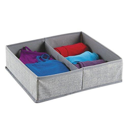 mDesign – Caja organizadora de tela (2 compartimentos) – Precioso organizador para ropa interior y accesorios – Cesta para ordenar cajones y cómodas – Color gris