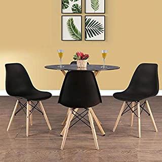HomeTown Corona Metal And Glass Four Seater Dining Set in Black Colour