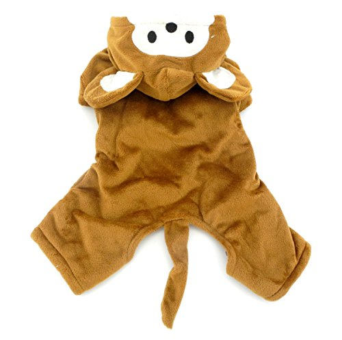 SMALLLEE_LUCKY_STORE Small Dog/Cat Halloween Fleece Monkey Costume with Hood Jacket Coat, Brown, Large