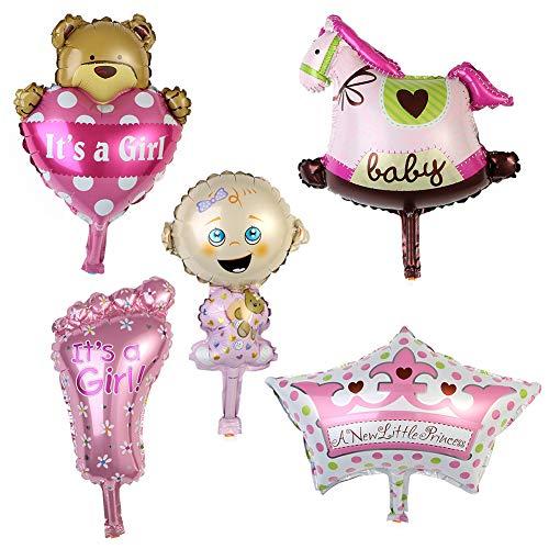 xMxDESiZ Aluminium-Folienballon für Babyparty, Jungen, Mädchen, Happy Birthday, Party-Dekoration, 5 Stück