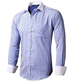 INFLATION Mens Dress Shirts French Cuff Cotton Blend Slim Fit Formal Shirt Solid Button Up Tuxedo Shirts, Blue Stripe, UK S