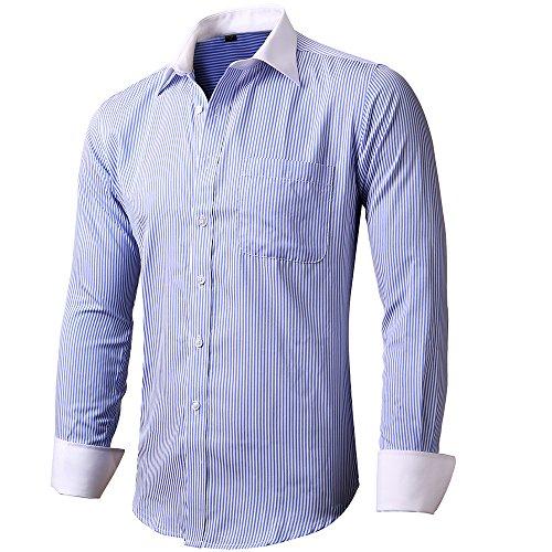 INFLATION Herren Hemd Business Freizeit Langarm Hemden mit Manschettenknöpfe Sanfter Stoff- Gr. 5XL, Blau-Streifen