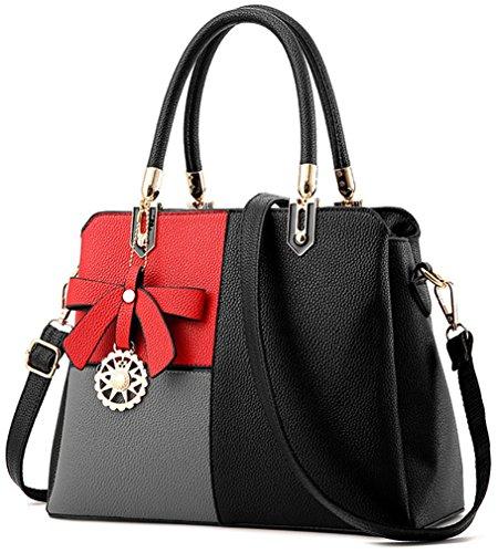 Frauen Mehrfarbenhandtasche Kunstleder Tasche Top Griff Tasche Umhängetasche Zip Top Cross Body Handtaschen(Schwarz mit Rot) (Top Leder Umhängetasche Zip)