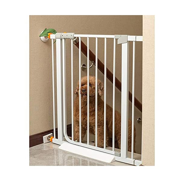 Auto Close White Stair Gate, Safety Gate Room Divider for Dog Pet Baby (Color : High 103cm, Size : 96-103cm) Huo WALL PROTECTION: Safety Gates For Kids or Pets With an extension from 61-215cm, this gate will fit in most doorways quickly and easily EASY TO INSTALL: the safety gate is fixed with four fixing screws by pressure, that means neither drilling or screws are necessary; DURABLE AND CONVENIENT: Tall Thru Gate Made with sturdy metal construction for the ultimate in durability, the play yard is easy to set up and take down. 2