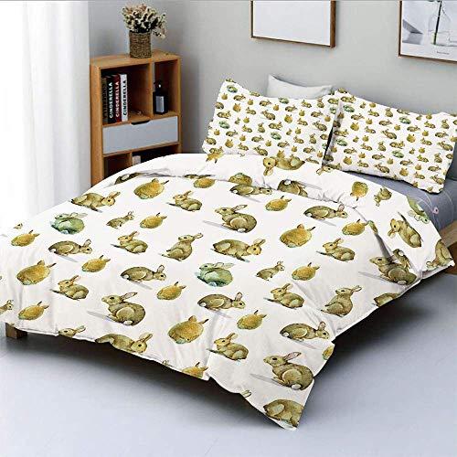 Set copripiumino, simpatico coniglietto di peluche, motivo a coniglietto, animali pasquali, animali domestici soffici, decorativo, set di biancheria da letto decorativo, 3 pezzi con 2 cuscini, giallo