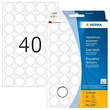 HERMA 2257 Seal labels Ø 19 mm round transparent extra strong adhesion film matt 640 pcs.