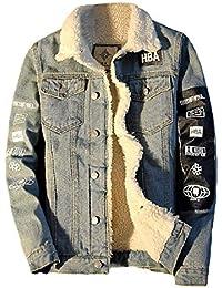 Vinyst Mens Thicken Denim Cotton Plus Velvet Fitted Fleece Jacket