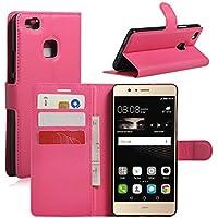 Huawei P9Lite Custodia, hualubro [Kickstand] [tutto intorno protezione] PU Custodia protettiva a Portafoglio in pelle con porta-carte e chiusura magnetica per Huawei P9Lite smartphone, Pelle, Rose, Huawei P9 Lite