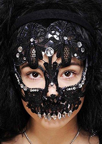 Womens schwarzer Spitze mexikanischen Sugar Skull (Zucker Schädel Maske Kostüm)