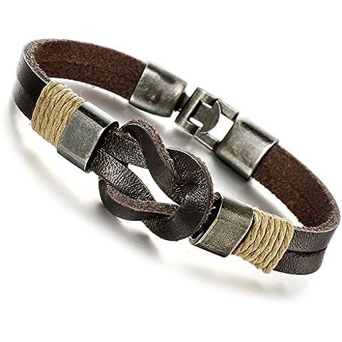 Jstyle joyas hombre Pulsera de piel marrón hecha a mano pulseras cuerda