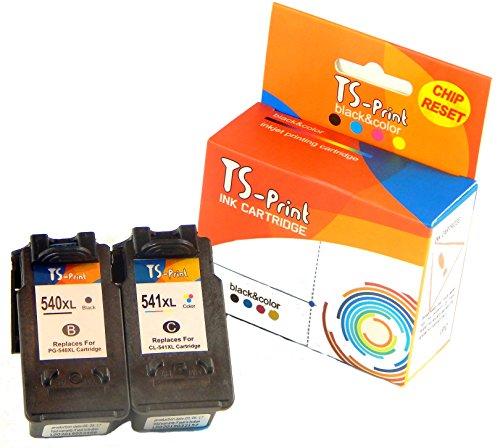 TS-Print 2er-Set Mutipack Tintenpatronen ersetzt Canon PG-540 XL PG-540XL (21ml XXL) schwarz Black bk + CL-541 XL CL-541XL (24ml XXL) DREI-farbig tri-Color