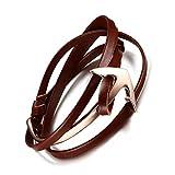 Vnox Bracelet en acier inoxydable plaqué or à l'ancre long marin avec enveloppe en cuir Real Leather Chain
