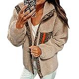 aixingwuzi dependable Autumn Winter Women Fashion Casual Solid Color Leopard Print Fleece Button Jacket Long Sleeve Open Front Lapel Jacket Coat(None XL XL)