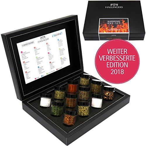 Preisvergleich Produktbild Hallingers GewürzMix Klassisches BBQ-Set,  12 x Miniglas in DesignKarton,  1er Pack (1 x 190 g)