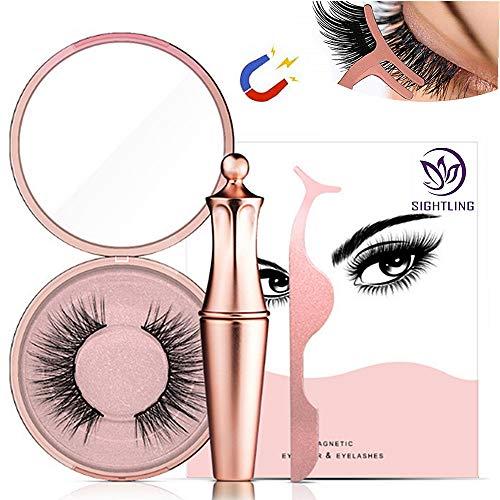 SIGHTLING Magnetische Wimpern, Magnetic Eyeliner Magnetic Eyelashes Kit Wasserdichter, Langlebiger Eyeliner Mit Falschen Wimpern Magnetischer Eyeliner (Diamond-5)