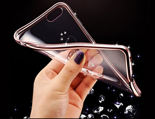 "Roreikes weich TPU Silikon Handy Hülle Schutzhülle, Bling Strass Diamond Crystal Electroplate Plating Scratch-Resistant Bumper Soft Rückseite Cover Tasche für Apple iPhone 6 6S (4.7"") 2#"