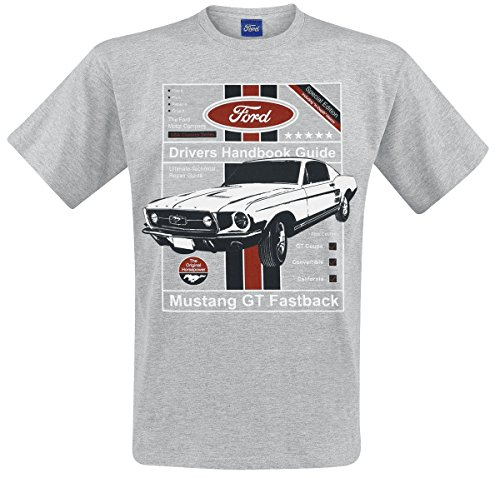 Ford Mustang GT Fastback Driver's Handbook Guide T-Shirt Mottled Grey