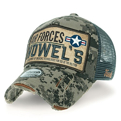ililily Howels Tarnkleidung (Camouflage) abgenutztes Aussehen Baseball Cap AIR Forces Netz Trucker Cap Hut (Medium, Jungle Green) (Green Hut Patch)