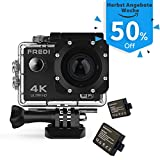 Action Cam Sports Kamera Camera 4K Helmkamera Camcorder FREDI Wasserdichte HD 16MP 170 ° Weitwinkel...