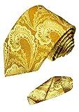 Lorenzo Cana - Marken 2 er Set 100% Seide - Festliche Krawatte mit Einstecktuch Gold Gelb Paisley - 8424101