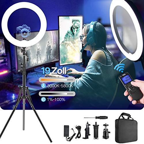 Ringlicht,verbesserte Version 19 Zoll LED äußere einstellbare Farbtemperatur 3000-5800K mit Standfuß,dimmbares Video-LED-Licht Kit für YouTube-Makeup,Telefonadapter,Videoaufnahmen,Porträt,Vlog,Selfie -