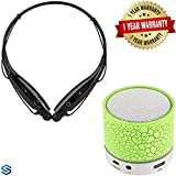 #9: Supreno Latest Top Selling Mini Wireless LED Bluetooth Speaker Mini S10 Handsfree with Calling Functions & FM Radio (Assorted Colour) With HBS-730 Bluetooth Stereo Headset HBS 730 Wireless Bluetooth Mobile Phone Headphone Earpod Sport Earphone with call functions (Black) for Redmi note 4 and all other andriod devices.