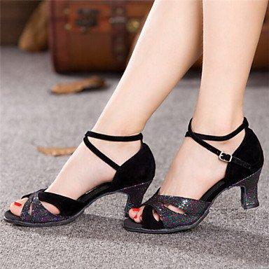 Silence @ pour femme Chaussures de danse Latin Cuir verni Chunky Talon Noir noir