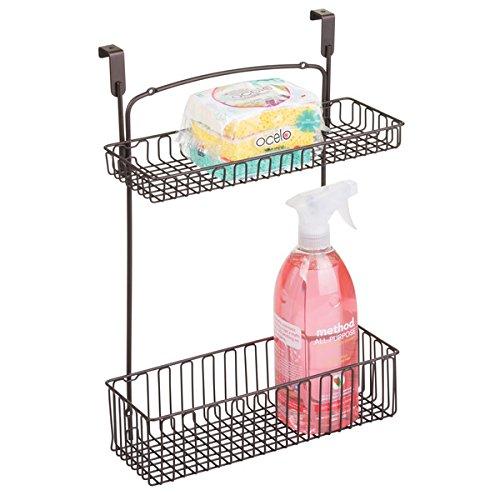 mDesign Aufbewahrungskorb für Küchen- und Badutensilien – praktischer Regalkorb aus Stahl in Bronzeoptik – einfach zu montierender Schrankkorb zum Einhängen mit zwei Ebenen