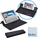 Bluetooth Folding Keyboard For Computers, Laptops, Tablets Smartphones, IPhones, IPads, Samsung, Android, Etc. (Black) Super-Comfortable ECostConnection Microfiber Cloth