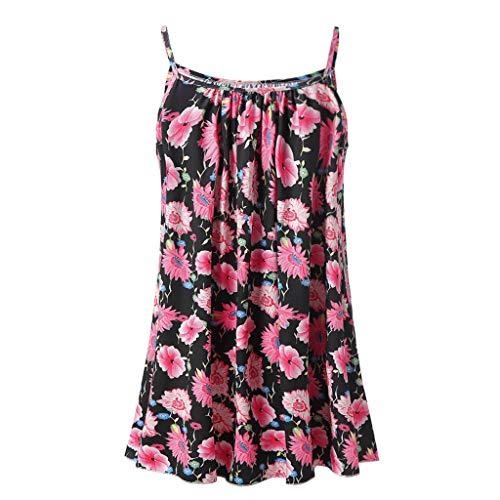 DaySing Débardeur Grande Taille Femme, Blouse à Manches Courtes et à Manches Courtes sans Manches Casual Mini Beachwear Robe de Mariée Noir