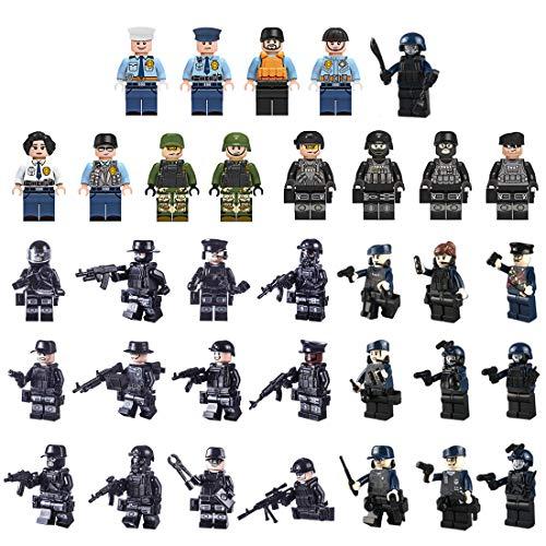 MOEGEN 34pcs Mini Figuras Set Soldados policía Equipo