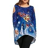 Damen Oberteile MYMYG Frauen Frohe Weihnachten Cold Shoulder Weihnachtsmann Drucken T-Shirt Tops Bluse Herbst und Winter Sweatshirt(Blau,EU:44/CN-3XL)