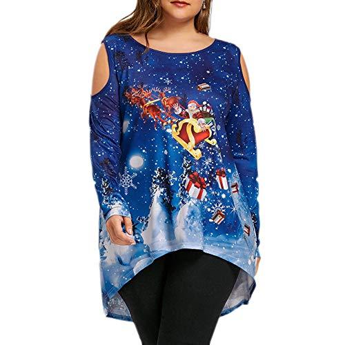 (JURTEE Weihnachtskostüme Damen Fröhlich Weihnachten Kalt Schulter Weihnachtsmann Claus Drucken T-Shirt Oberteile Schulterfrei Bluse Weihnachtsbluse)