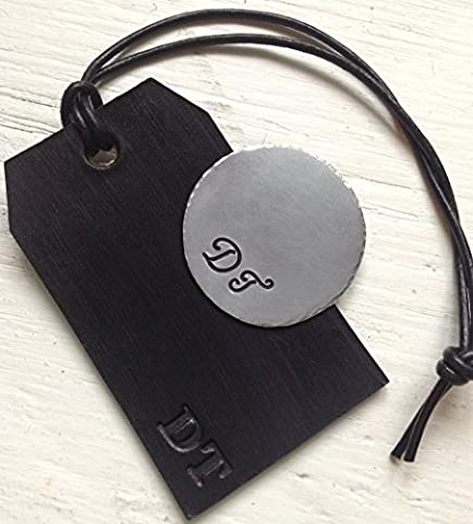 Sterling Silver Personalised Custom Golf Ball Marker & Black Leather Luggage / Caddy Tag