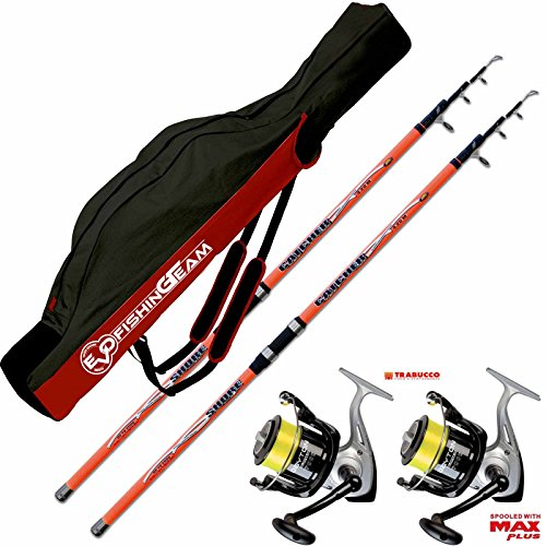 Kit surfcasating 2 cañas Catcher 420 cm 200 gr + 2 carretes Trabucco Dayton 6500 + vaina PORTACANNE Evo Fishing