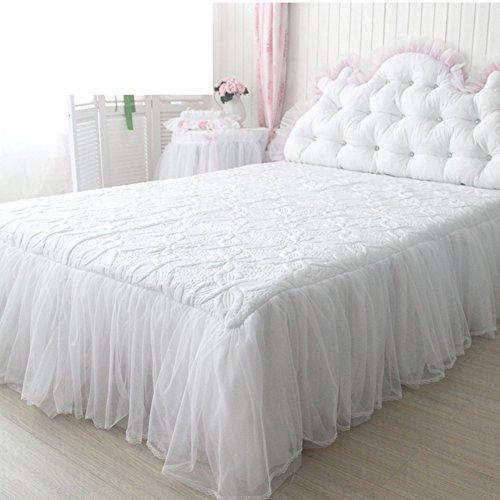 hxxkact Spitze Dekoration Und weiß Bettvolant,Bettrock tagesdecke rüschen Baumwolle Tagesdecke Bettüberwurf Queen-king Princess-Weiß 120x200cm(47x79inch)