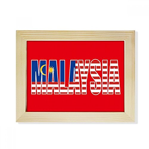 DIYthinker Malaysia Land Flagge Name Desktop-HÖlz-Bilderrahmen Fotokunst-Malerei Passend 15.2 x 20.2cm (6 x 8 Zoll) Bild Mehrfarbig