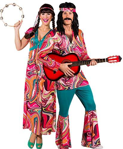 Fancy Me Pärchen Damen und Herren 1960er 1970er Jahre Festival Hippie Woodstock Peace Love Karneval Kostüme - Zehn Jahren Kostüm Für Paare